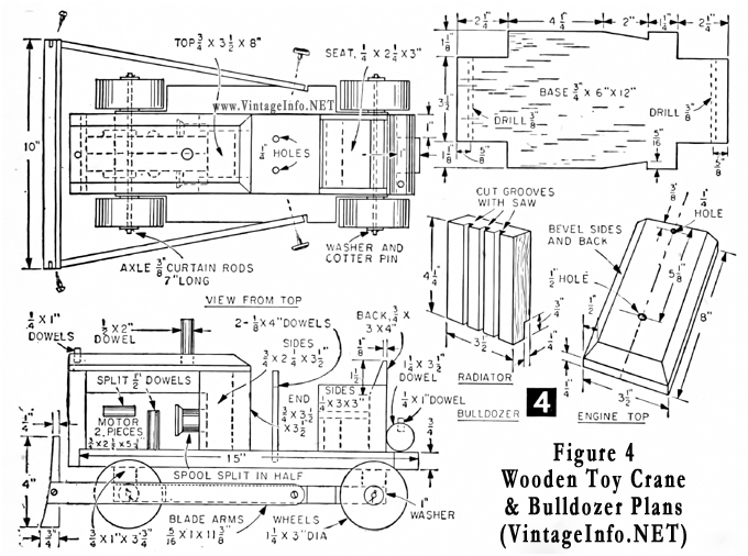 Make a toy crane and bulldozer - free plans here: http://vintageinfo.net/toy-bulldozer-plans/