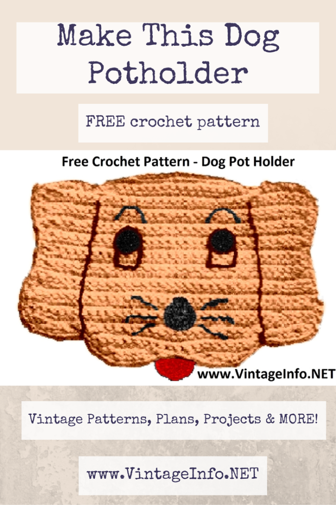Dog Potholder Pattern http://vintageinfo.net/dog-potholder-pattern