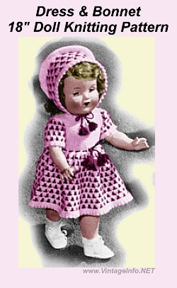 "18"" Doll Dress Bonnet Knitting Pattern"