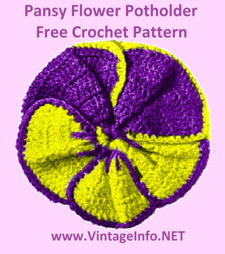 Crochet Flower Potholder Pattern : Free Pansy Flower Potholder Pattern Free Crochet Pattern ...
