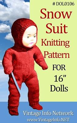 Snow Suit Knitting Pattern for 16 Inch Dolls http://www.vintageinfo.net